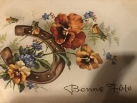 Kerstmis | Ansichtkaart - Briefkaart - Hoefijzer met viooltjes en vogeltje  'Bon Fete' - 1952