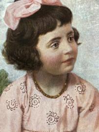 1918 | Duitsland | Meisje met roze strik en jurk | Deutsche Reich