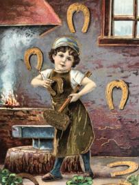 1911 | Duitsland | 'Klein smidje met gouden hoefijzers' prentenbriefkaart met goudopdruk