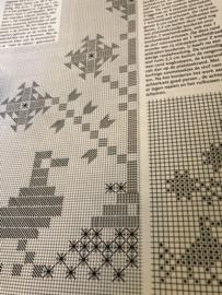 Onbekend | Dieren | Telpatroon  (kopie - wit borduren) Folklore vogeltje 33 x 33 cm