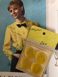 Knopen | Geel | 20 mm knopenkaartje 4 stuks | 1950
