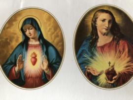 Plaatjes | Maria en Jezus | Klein ovaaltje met Heilig Hart afbeeldingen