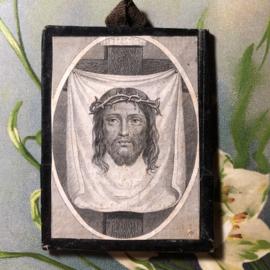 Frankrijk | Religie | Katholiek | Antiek klein oud prentje van Jezus uit Frans klooster ca. 1900