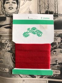Vintage Lint | Rood kerstlint uit de jaren '60 - kaartje 3 meter