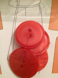 Knopen | Rood - 25 mm  reliëf met twee gaatjes vintage jaren '60