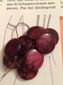 Knopen | Rood Bordeaux Marmer - 15 mm met reliëf 1 oogje | Vintage