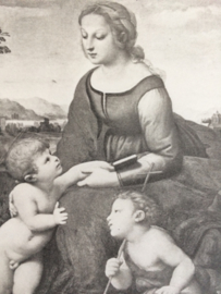 "Zwart-wit kunstkaartje ""La belle jardinière"" - Madonna met kind"