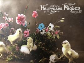 Briefkaarten | Pasen | 'Hereuses Paques' FURIA 553 bloemen, kuikens en paaseitjes (1915-1920)