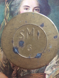 "Small round gold colored tin with pin ""SMI 6"" toy storage  Sacramental bread box with ""SMI 6"" 1935"