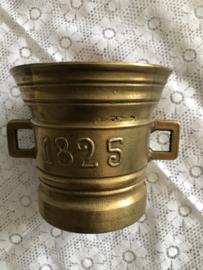 Messing | apothekers beker vijzel  '1825' | Brass Mortar 1825
