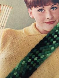 Band | Groen | Vintage met diverse kleuren groen gevlochten band (2 cm) - 100% acryl1q
