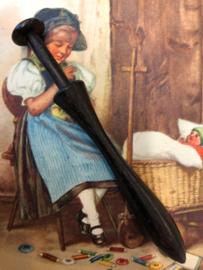 Ebbenhouten kantklosje  |  Lace Bobbin Turned Treen Pillow Lace Mid Victorian | 1850-1870