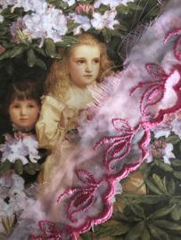 Kant | Roze | Vintage bramen roze organza kant - bladmotief (2 cm)