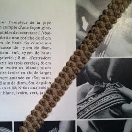 Vintage band | Bruin/grijs met nopje | wol |  1 cm