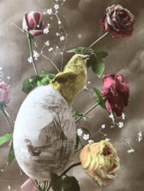 Briefkaarten | Pasen | 'Bonnes Paques' B.M. Paris 330: Kuikens, ei en rozen (1900-1910)