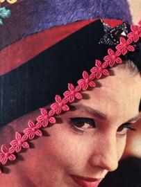 Band   Rood   Vintage lieve bloemetjes band 'Red Daisy' (1 cm) - jaren '60