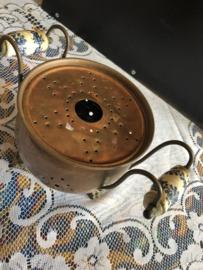 Rood koper | Antiek theelichtje waxinehouder Delftsblauw
