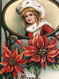 Kerstmis | Ansichtkaart - Briefkaart  - Victoriaans 'meisje met bontmutsje en kerststerren' - 1910