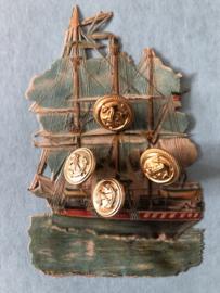 Goud | Anker - Goudkleurige knopen metaal 1 cm (4 stuks - 2 x 2) - jaren '60