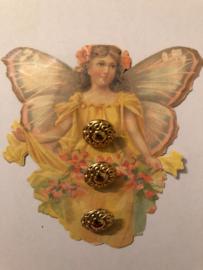 Goud | Blouseknoopje 1 cm - kunststof | jaren '60