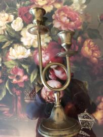 Geel koper | Mooie kandelaar in trompetvorm
