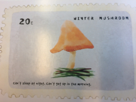 "Briefkaart | ""Winter Mushroom"" - ""Can't sleep at night, can't get up in the morning"""