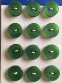 VERKOCHT | Arkilite | Zachtgroen | knopenkaart  | 12 groene knoopjes | twee gaatjes 10  mm | Vintage jaren '60