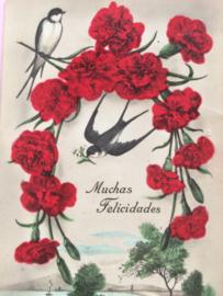 "1940 | Verjaardag | vintage briefkaart | ""Muchas Felicidades"" | Anjers & zwaluw"