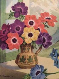 1930 | Vintage kunstenaar S. Bonneli briefkaart | Vaas met bloemen in berglandschap