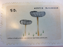 "Briefkaart | ""Winter Mushroom"" - ""Coffee is lonely without cups just as I am loney without you"""