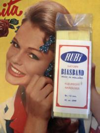 Band | Geel | Biaisband | Geel (citroen-)  | 1.2 cm | 5 meter | RUBi katoen BIASBAND Made in Holland 100% katoen | RUBi  - naadloos en kleurecht - wasbaar tot 95 ℃ - VINTAGE - 1920-1930