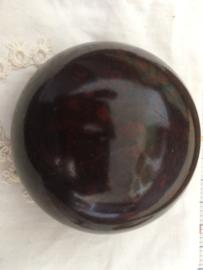 Antiek bakelieten speldendoosje | bruin gemarmerd | 1920-1930