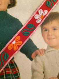 Vintage band | Rood met witte en oranje bloemetjes 1 cm | '60s-70s