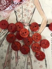 Knopen | Rood - 15 mm reliëf met twee gaatjes | vintage jaren '60