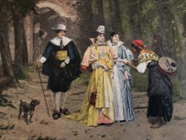 1900 | Oude illustratie uit een tijdschrift van Adrien Moreau - The Fortune teller, 1878