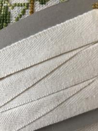 Band | Wit | Naadband | Crémewit | 1.5 cm - wasecht tot 60C - 100% katoen - Duits fabricaat