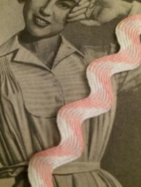 Vintage band | Roze  met wit zigzag band licht glanzend | Katoen | 1 cm