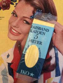 Band | Geel | Biaisband | Geel (vanille) | 2 cm | 5 meter | 100% katoen | IKO  - naadloos en kleurecht - wasbaar tot 95 ℃ - VINTAGE