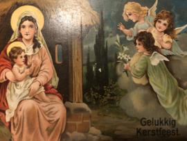 Kerstmis | Ansichtkaart - Briefkaart - Victoriaans - Gelukkig Kerstfeest Maria - Jezus en drie engeltjes - reliëfkaart - 1900-1910