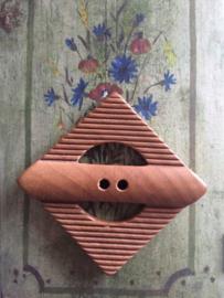 Knopen | Bruin | 40 mm - Houten design knoop vierkant twee gaatje 4 x 4 cm