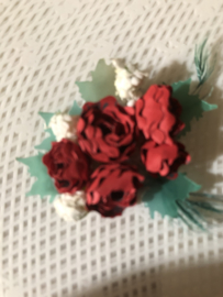 Fournituren | Rood | Applicaties | Antiek rood papieren roosje, mini (kaart-)corsage