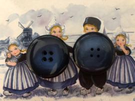 Knopen | Blauw 38 mm - hars 4 gaatjes - Supermooie Deense grote vintage blauwe jasknopen 🇩🇰