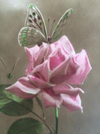 1920 - Vintage prachtige prentenbriefkaart van een roze roos en vlinder