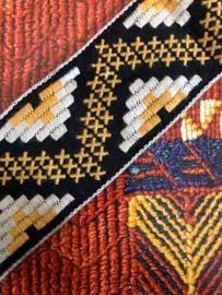 Band | Zwart, geel en wit geweven etnisch patroon (restje) 1.30 x 3 cm