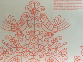Hongaars folklore platsteek borduurpatroon (nr. 01) uit de provincie Mezöség - Szék A3 (groot formaat)