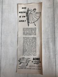 1954 | Advertenties |  Advertentie 'Hoe nieuw is uw jurk' ACME: de reinigende wringer (Tweezijdig)