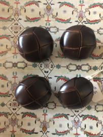 KNOPEN | Bruin | 30 mm -  Originele Football of knot button (leerknoop) -  lederen/leren knoop met metalen oogje, 100%  leer.