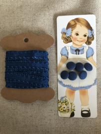 Knopen | Blauw | Knopenkaartje met 6 schattige vintage stoffen knoopjes + gratis satijnband (89 cm)
