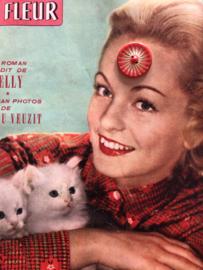 Knopen   Rood - 25 mm - bloemmotief vintage jaren '60