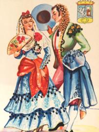 1930 | Wonderschone vintage kaart uit Spanje | Mode | jaren '30 -'40